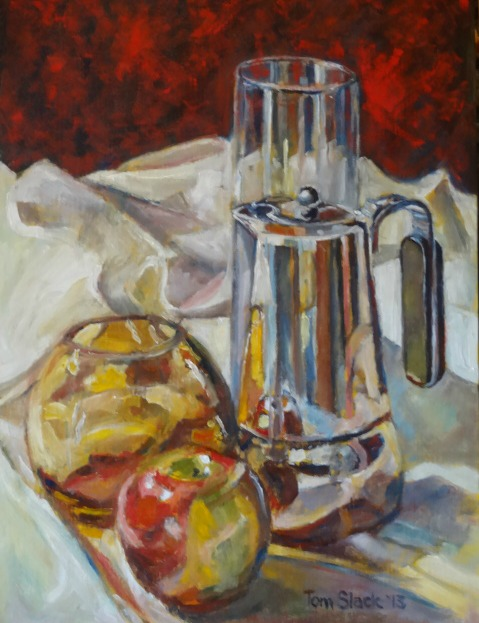 Still Life With Glass, Apple and Metal 004